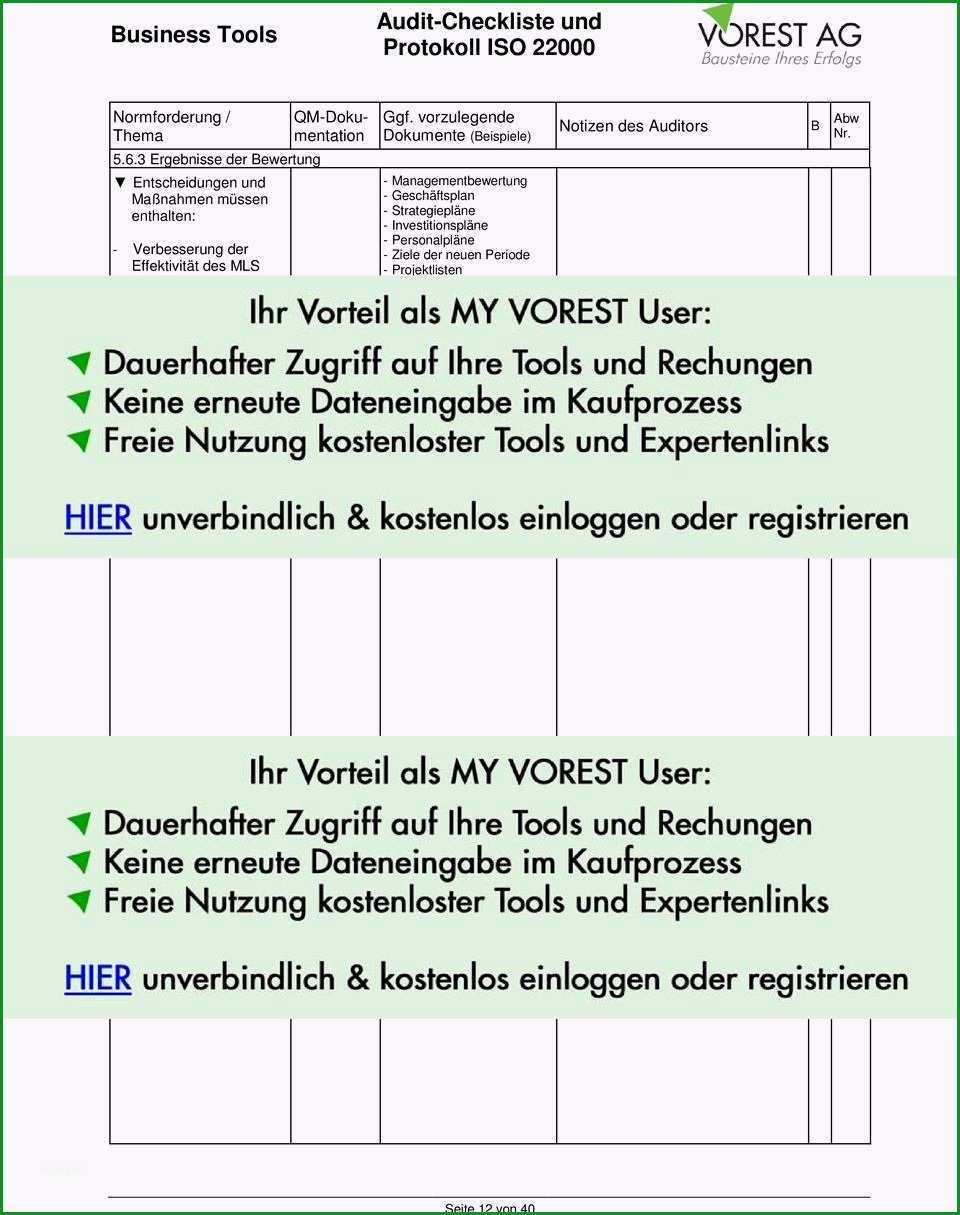 Sensationell Audit Checkliste Und Protokoll iso Pdf