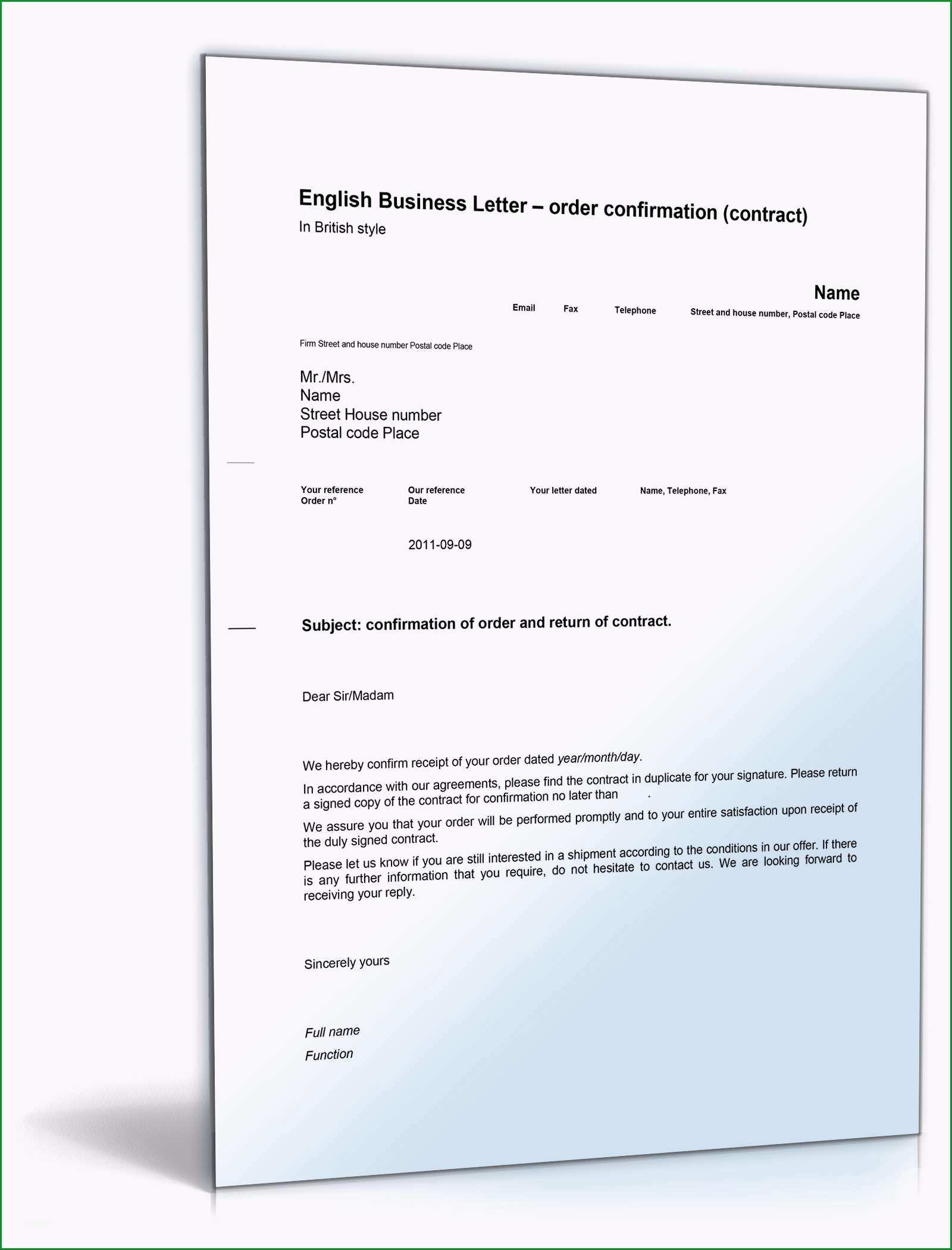 order confirmation contract english