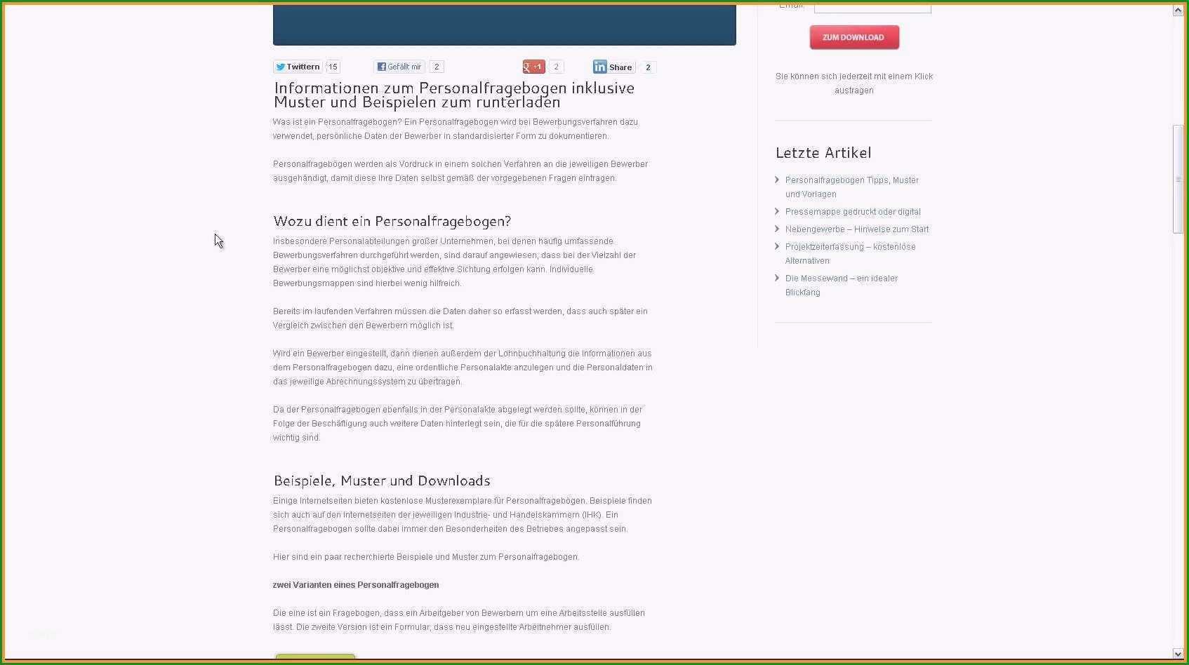 personalfragebogen vorlage