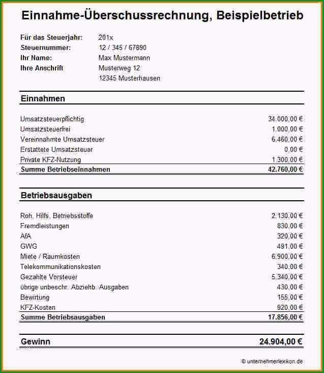 einnahme uberschuss rechnung vorlage genial 12 einnahme ausgaben rechnung