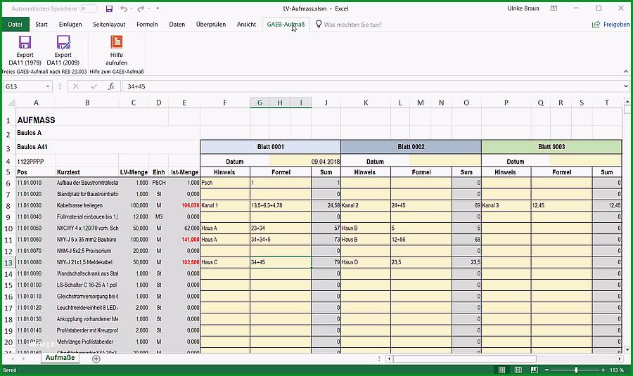 GAEB Excel Aufmass