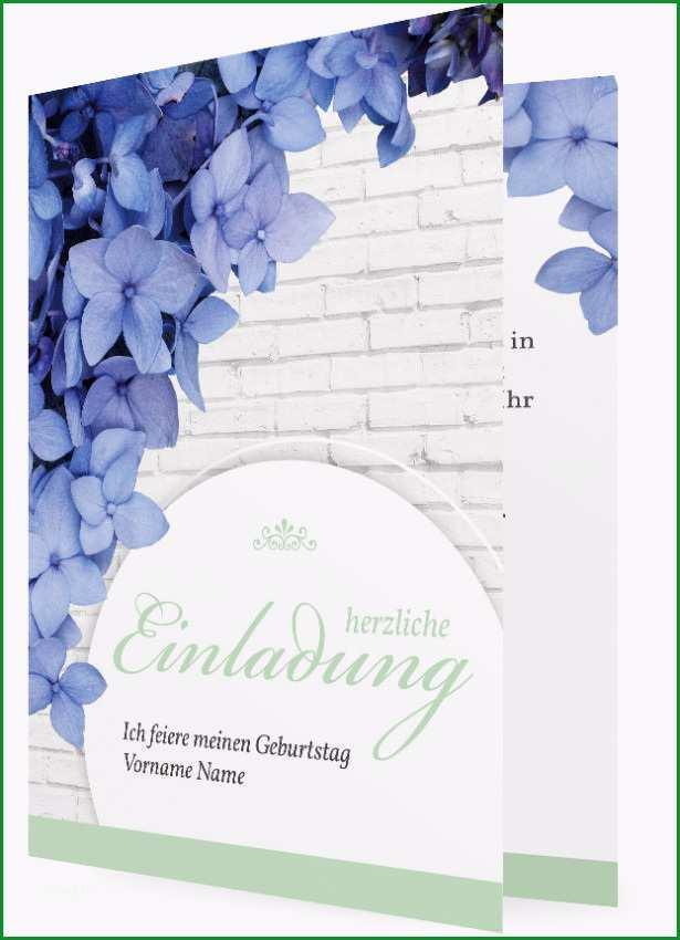 Geburtstagseinladung Vorlage blaue Blueten 1619c4 27