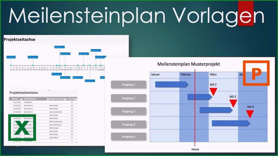 Sensationell Meilensteinplan Vorlage Excel & Powerpoint