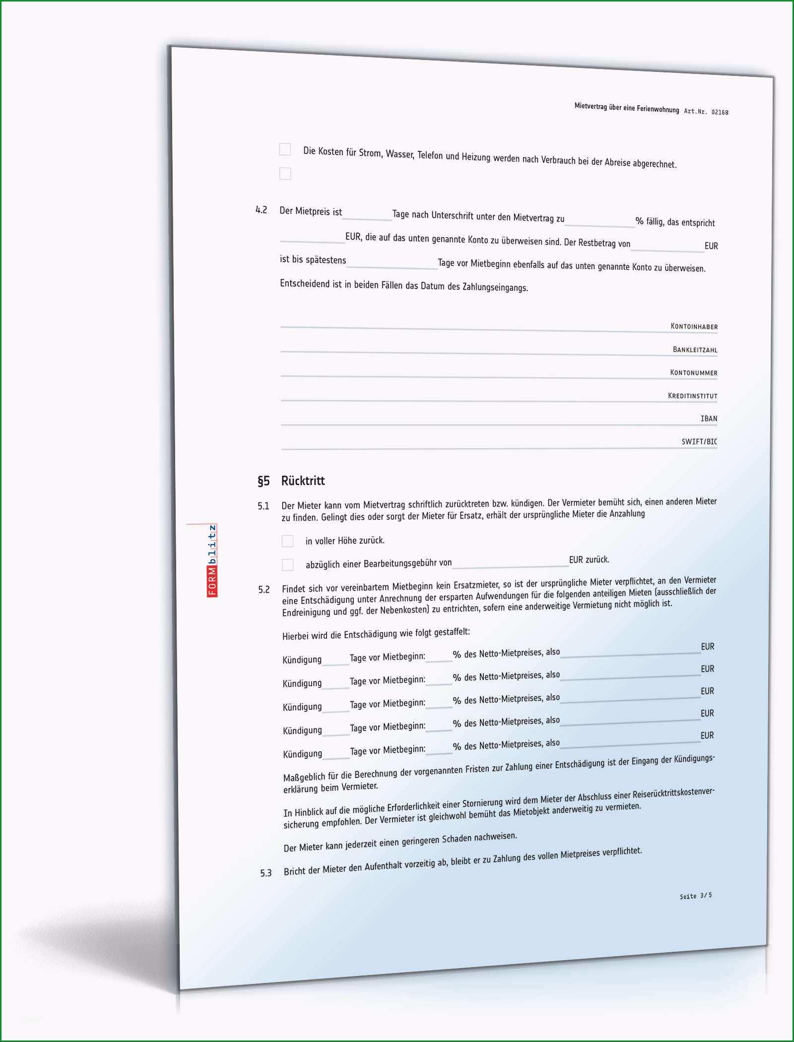 Sensationell Mietvertrag Ferienwohnung Rechtssicheres Muster Zum Download