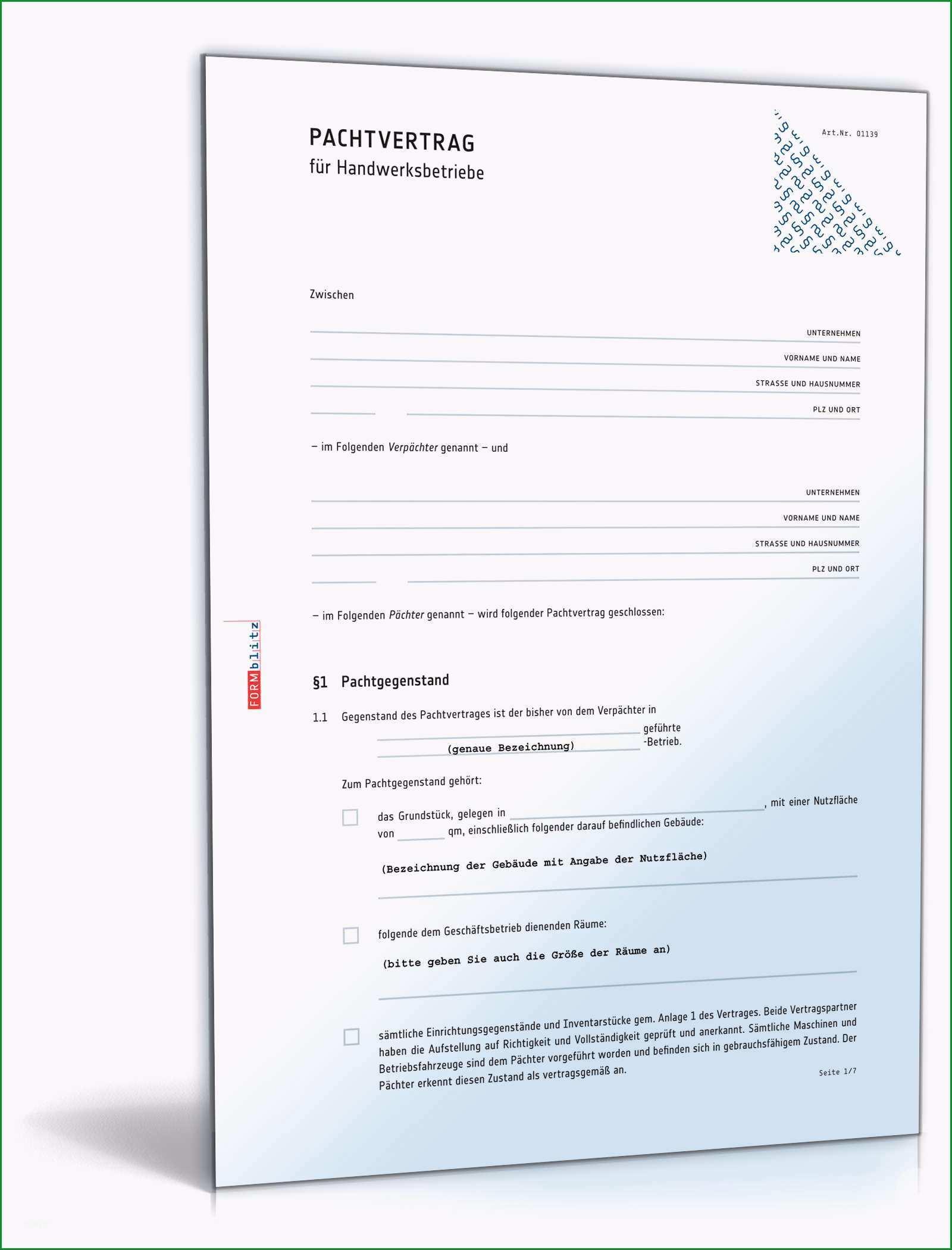 pachtvertrag handwerksbetrieb