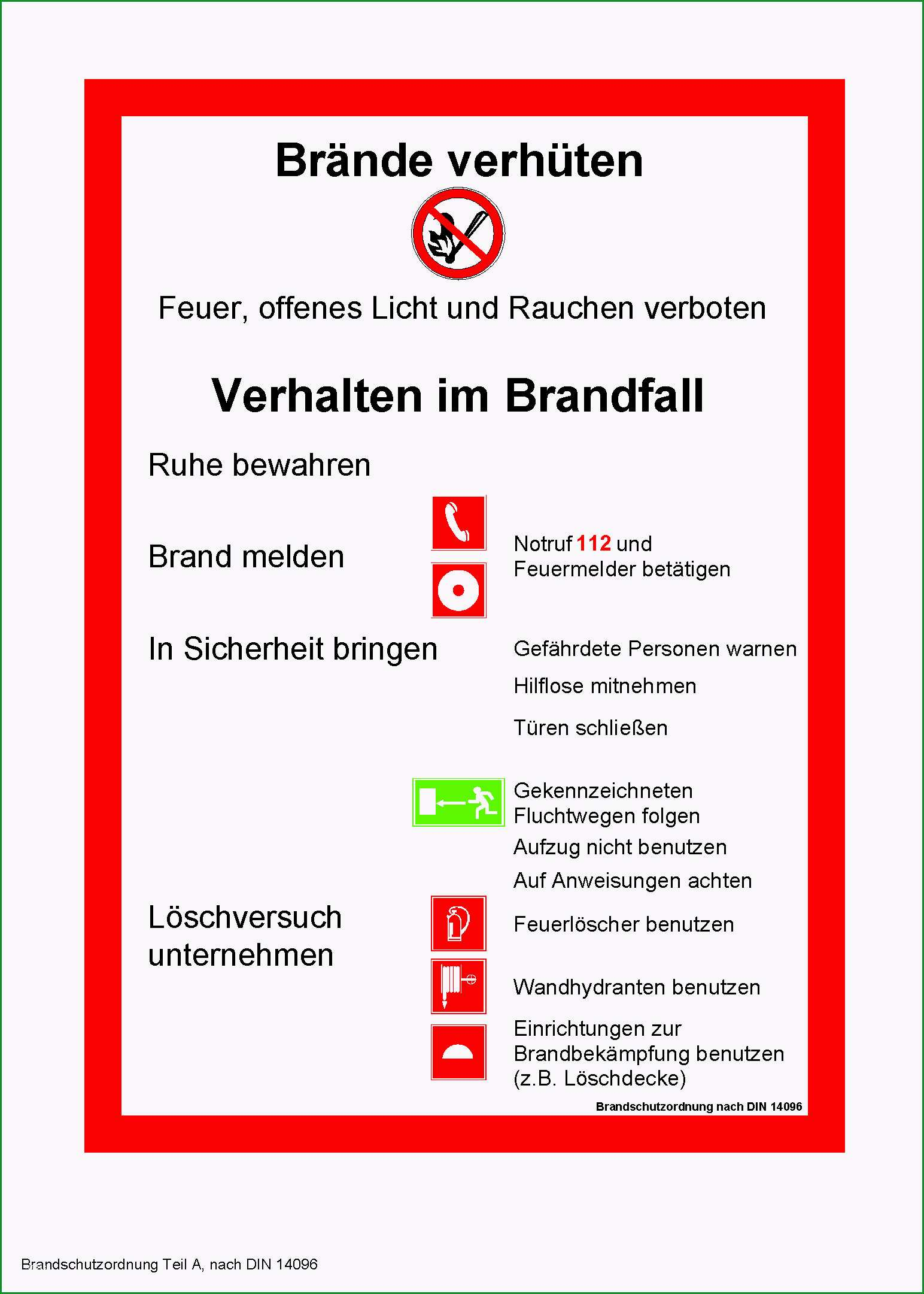 pin aushang brandschutzordnung teil a gratis vorlage on 2
