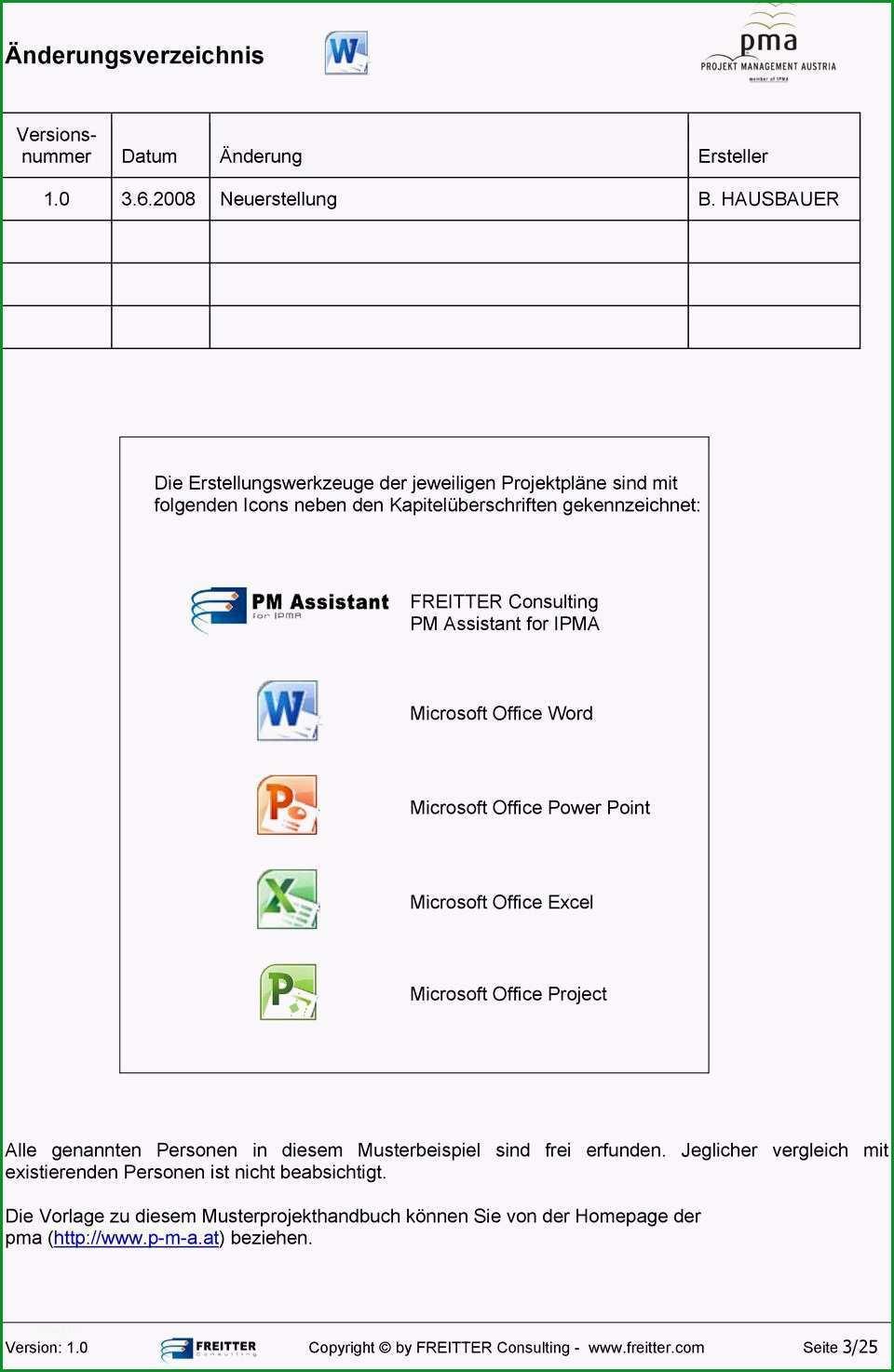 projekthandbuch vorlage excel