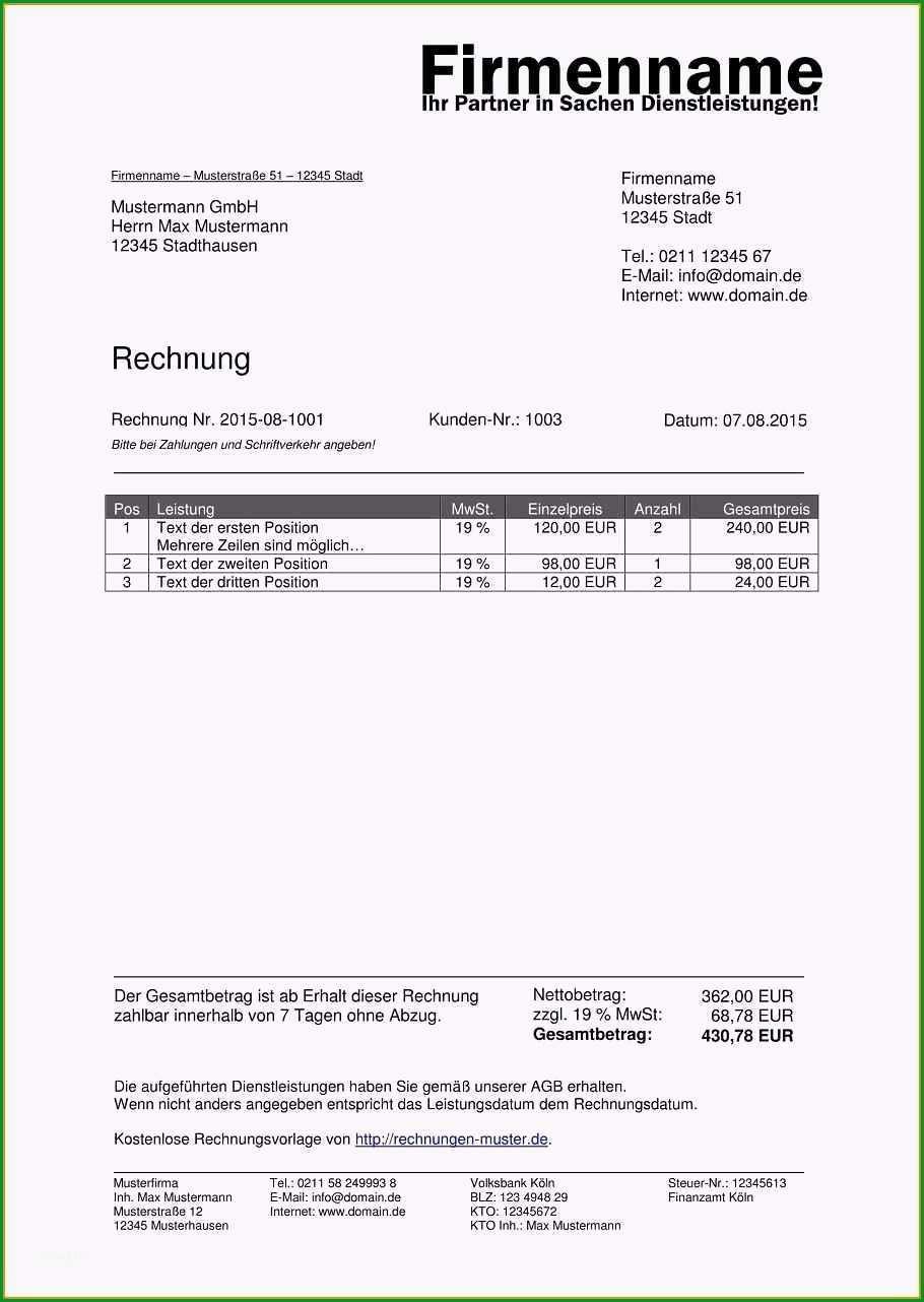 rechnung umsatzsteuerfrei vorlage hubscher 11 rechnung freiberufler
