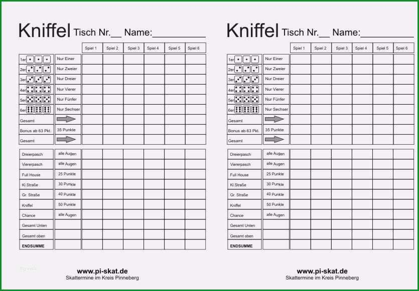 Sensationell Skat Excel Vorlage Beste Kniffelblock Zum Ausdrucken