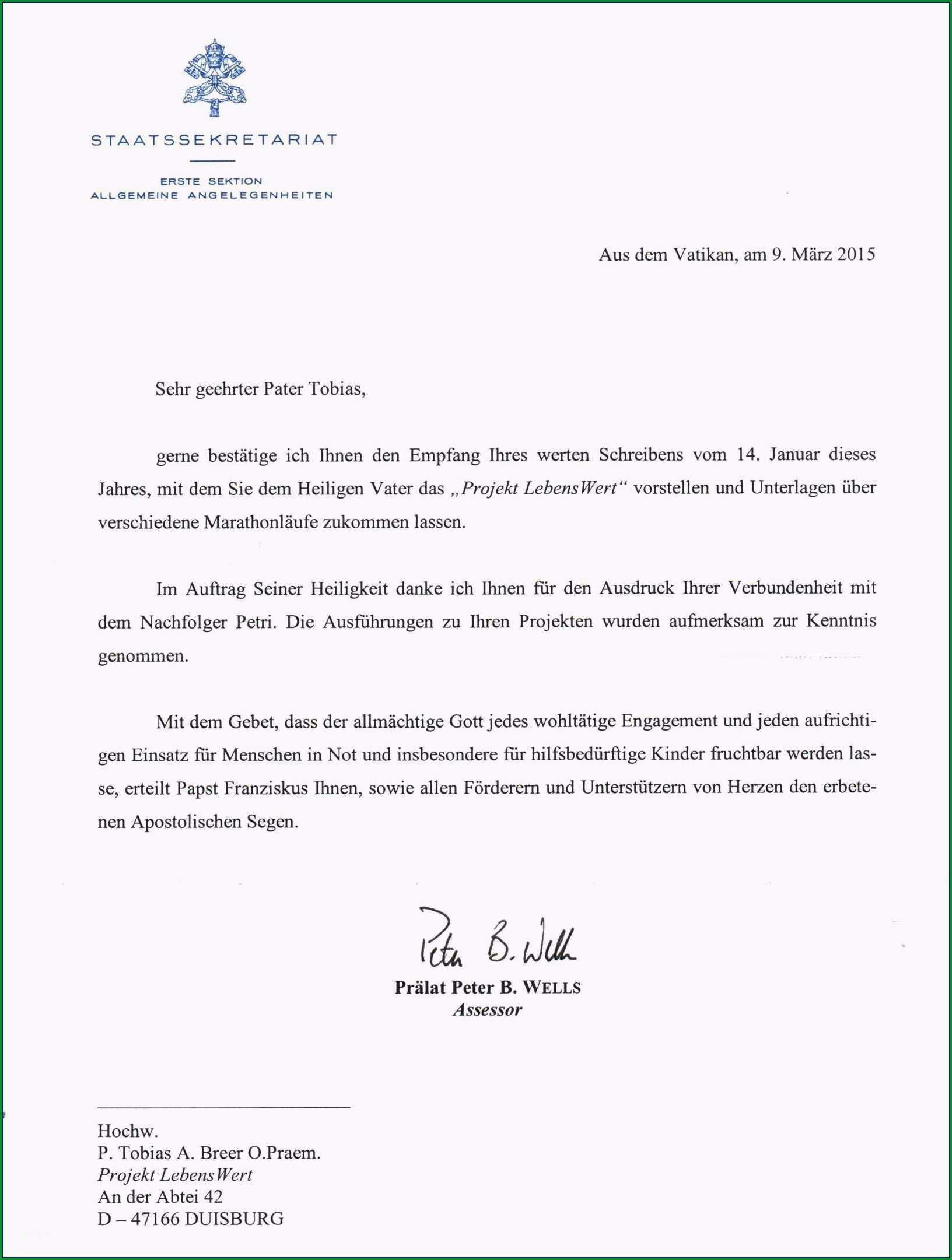 spendenbrief schreiben vorlage erstaunlich marathon pater erhielt brief vom papst