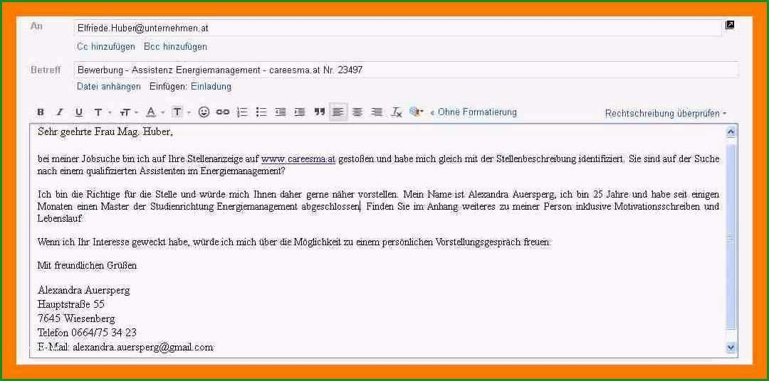 15 bewerbungsschreiben email vorlage