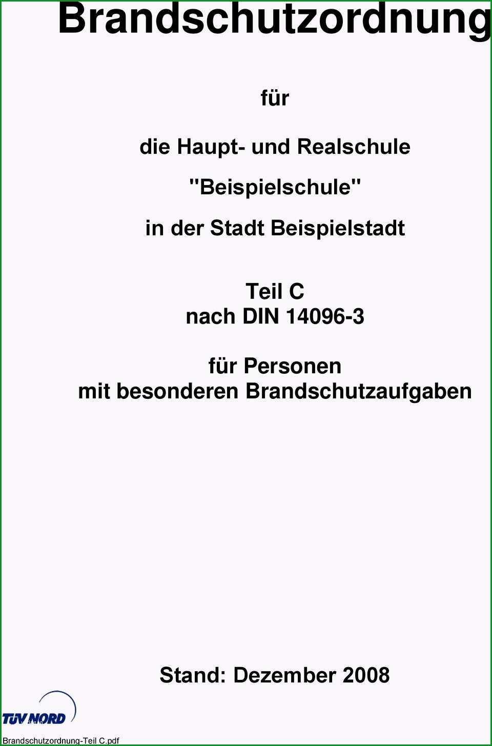 Brandschutzordnung fuer teil c nach din 3 fuer personen mit besonderen brandschutzaufgaben brandschutzordnung teil c pdf