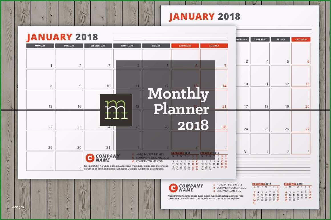 editierbare monatliche kalender 2018
