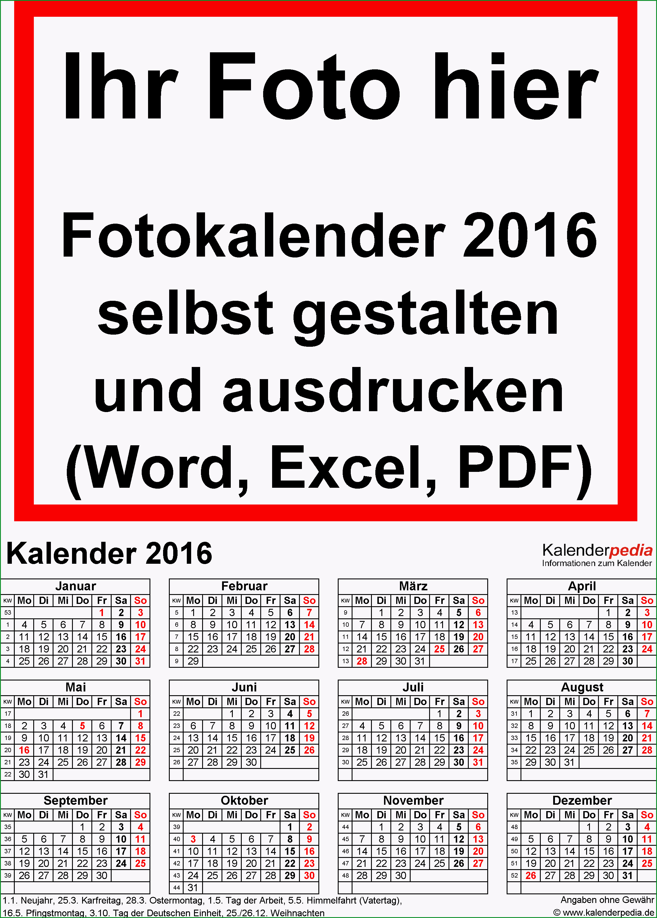 fotokalender 2016 word vorlagen