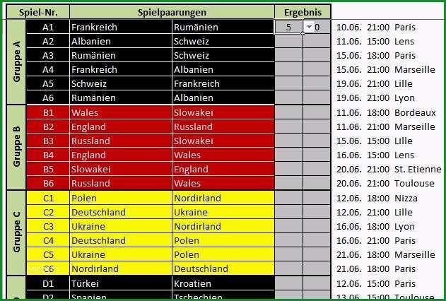 Fussballwetten EM 2016 Spielplan Tabelle fuer Excel