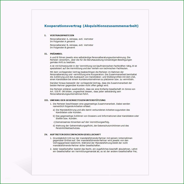 muster kooperationsvertrag akquisitionszusammenarbeit