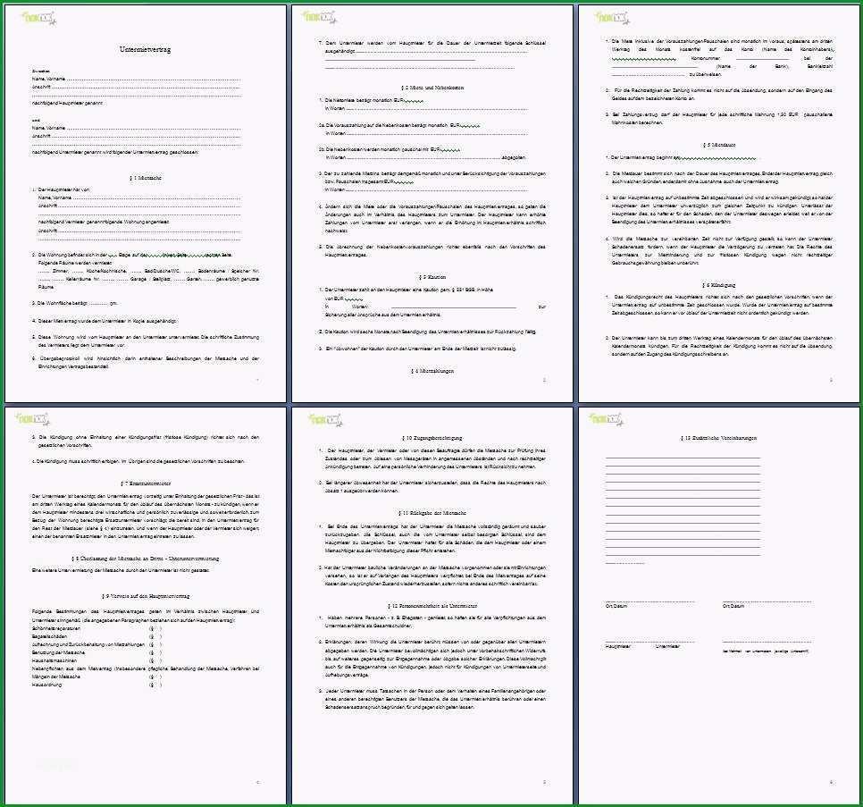 untermietvertrag vorlage pdf untermietvertrag vorlage kostenlos