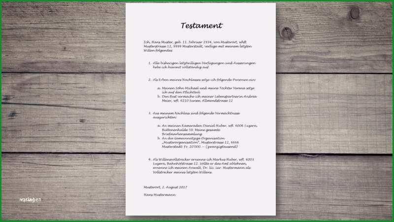 vorlage testament handschriftlich muster erstaunlich testament vorlage und muster schweiz kostenlos herunterladen