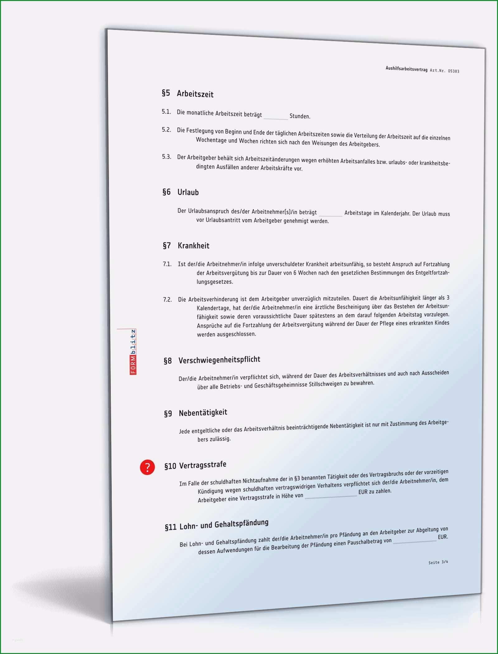 14 arbeitsvertrag aushilfe vorlage
