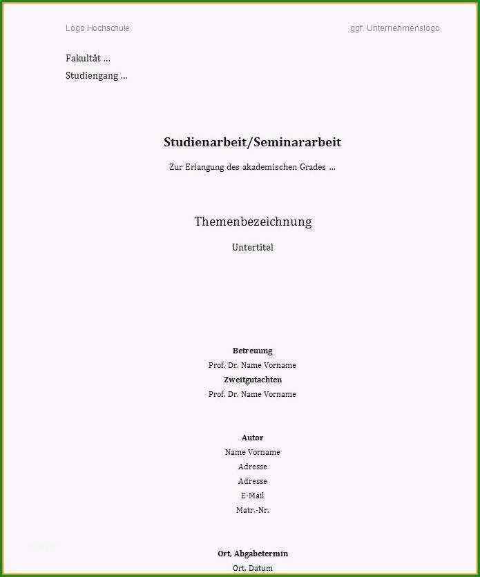 21 deckblatt vorlage word hausarbeit
