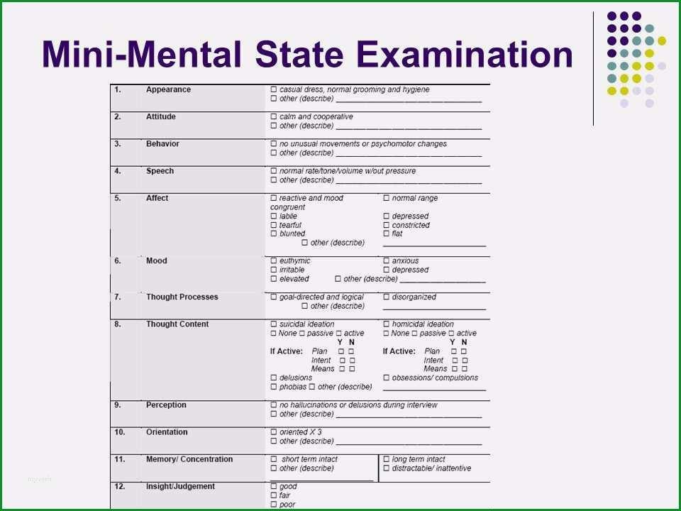 mini mental test vorlage