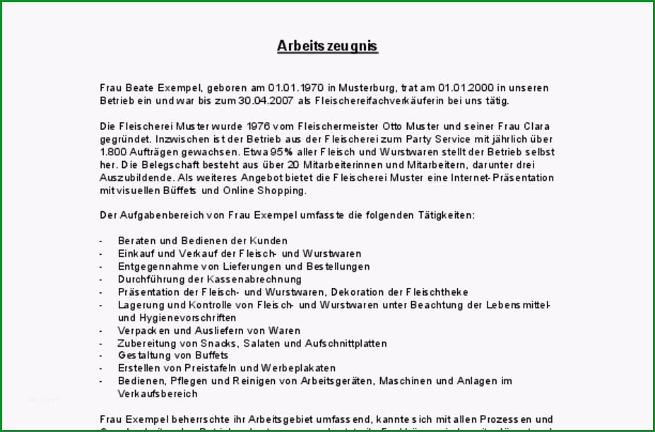 arbeitszeugnis bewertung sehr gut fleischereifachverkaeuferin deutsch