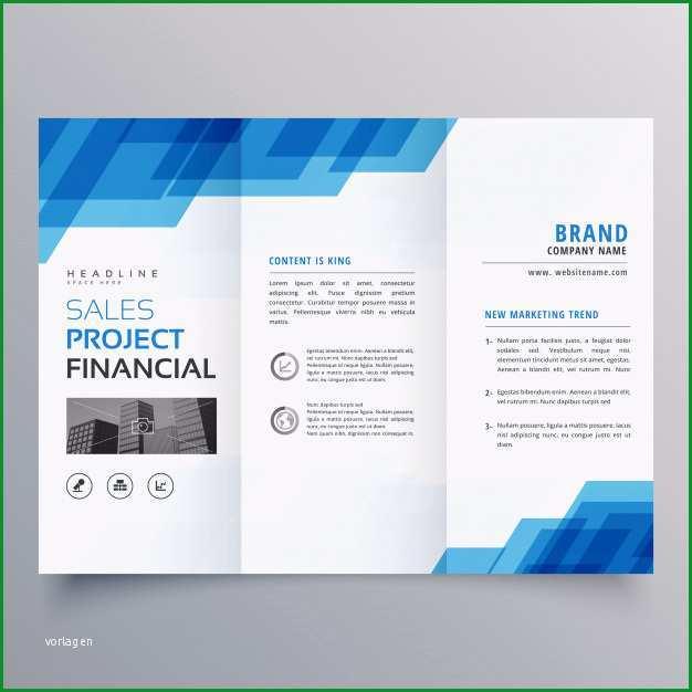blaue geometrische trifold business broschure design vorlage