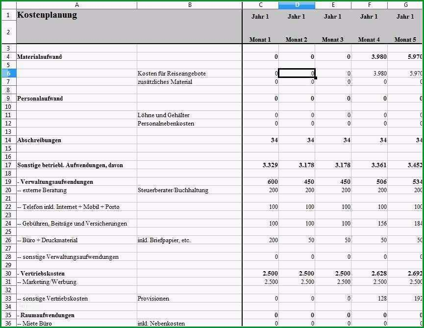businessplan vorlage excel genial gewinn und verlustrechnung businessplan