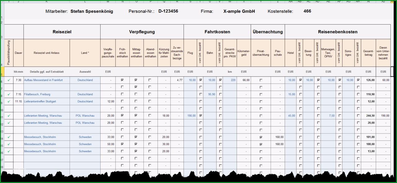 Excel Reisekostenabrechnung