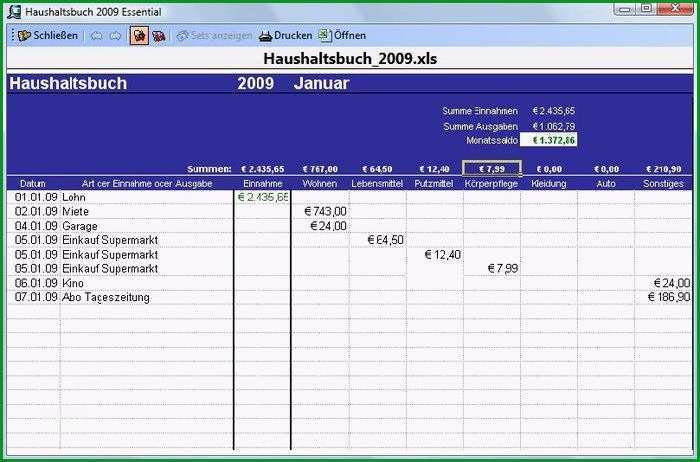 excel vorlage haushaltsbuch 2009