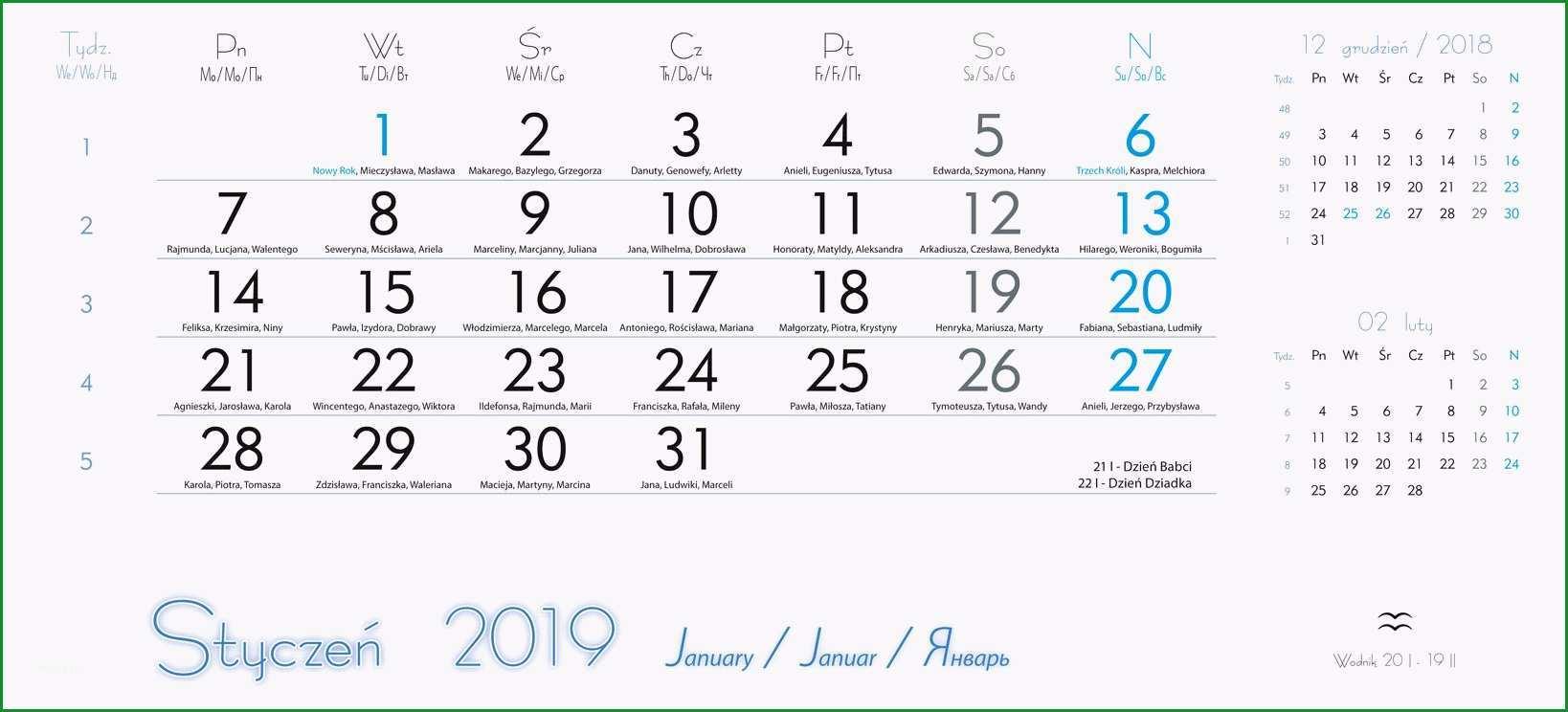 kalendarium do kalendarzy trójdzielnych 2018 projekt do