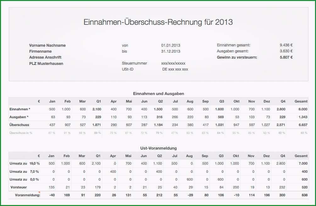 einnahmen ueberschuss rechnung 2013 mit ust