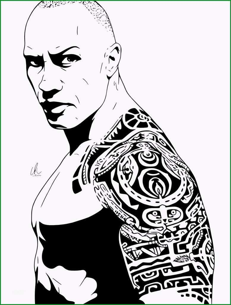 collectiontdwn the rock tattoo design drawing