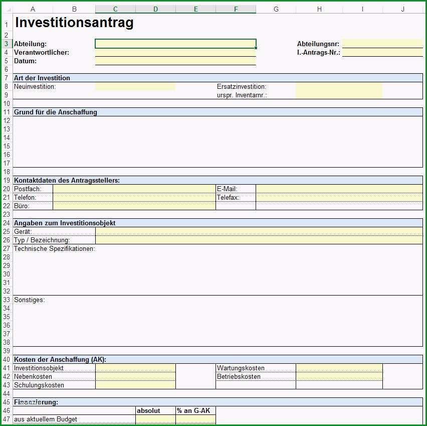 Vorlage Formular fuer Investitionsplanung Investitionsantrag