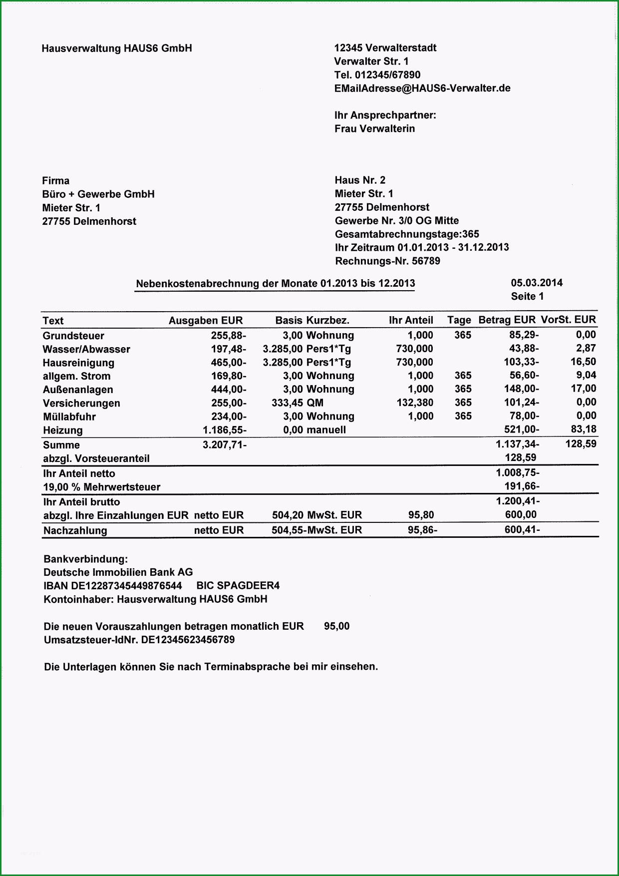 vorlage nebenkostenabrechnung nebenkostenabrechnung f r 4