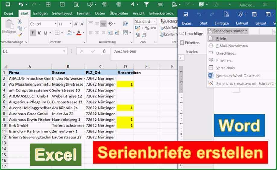 Word Anleitung colon Serienbriefe erstellen mit Adressen aus Excel 1287