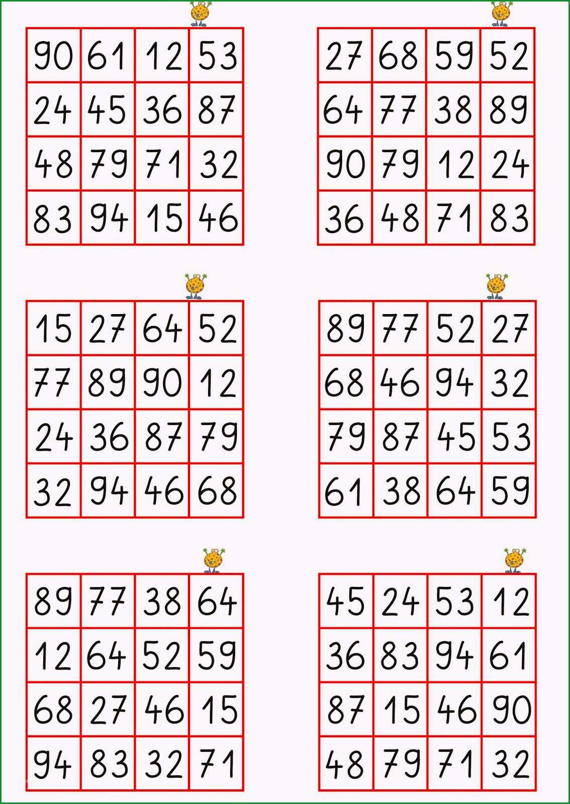 zahlen bingo vorlage