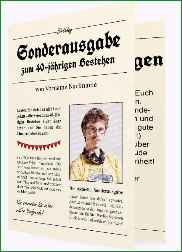 40 Geburtstag Einladungskarten Vorlage Zeitung 1376