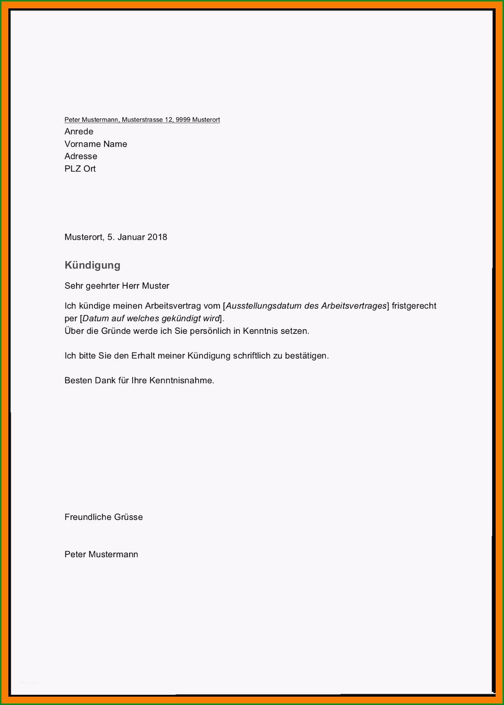 9 arbeitsvertrag kundigungsschreiben muster