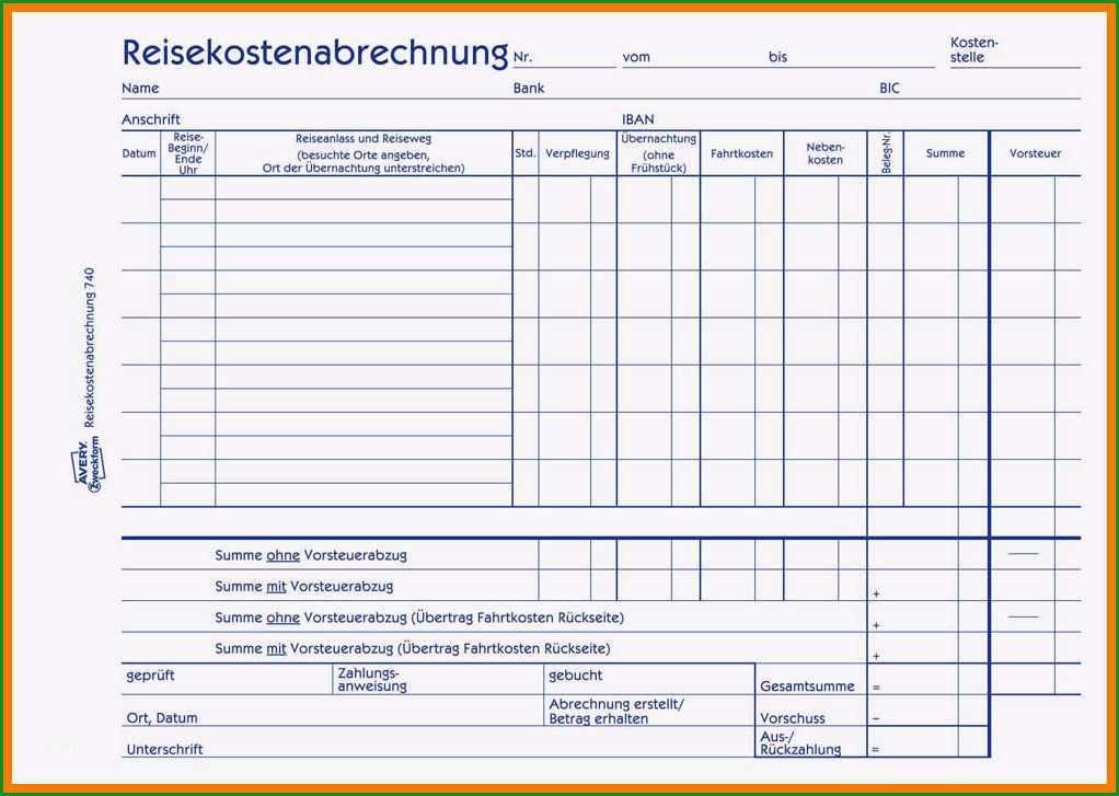 9 reisekostenabrechnung formular excel