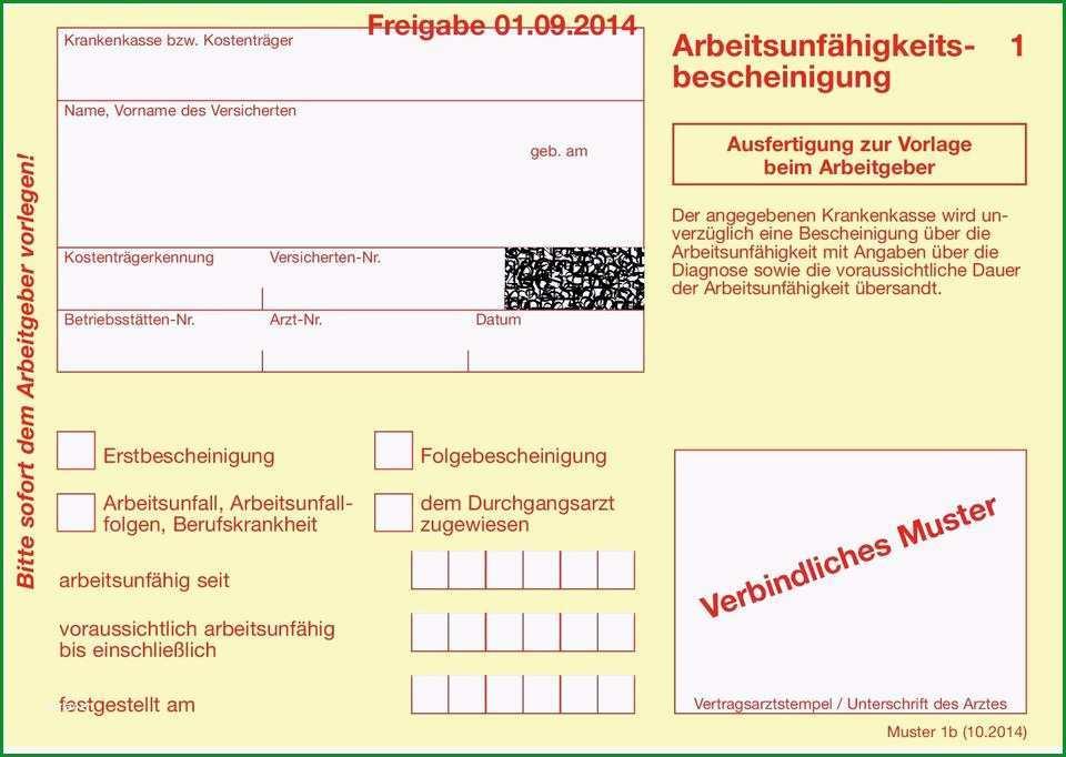 Arbeitsunfaehigkeitsbescheinigung verbindliches muster freigabe 01 09 2014 bei verspaeteter vorlage droht krankengeldverlust