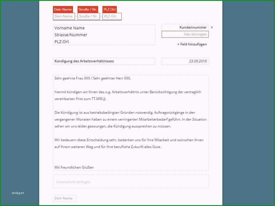 Arbeitsvertrag durch Arbeitgeber Kuendigung Vorlage