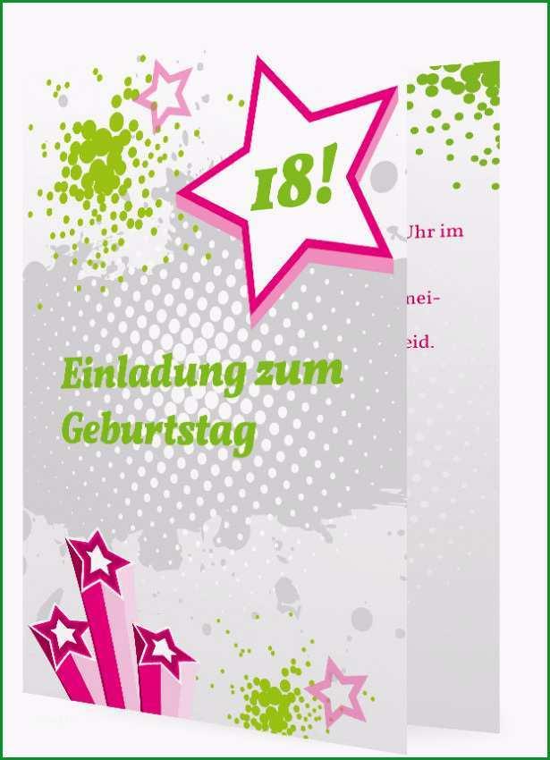 Einladung zum 18 Geburtstag modern in Grau mit Gruen und Sterne in Pink 83
