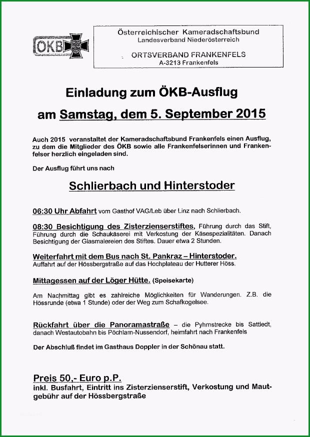 einladung zum oekb ausflug am 5 september 2015