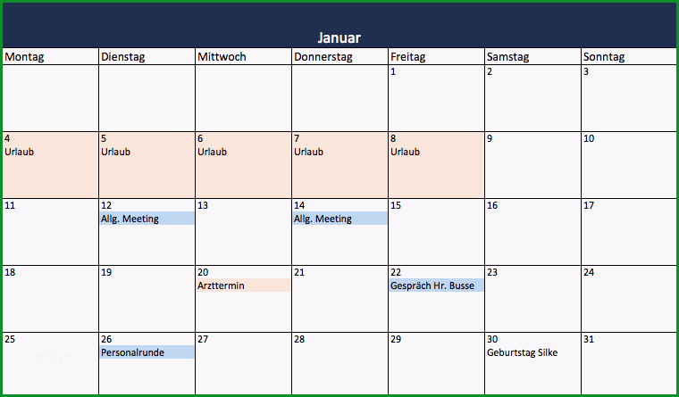 einfachste art einen excel kalender zu erstellen