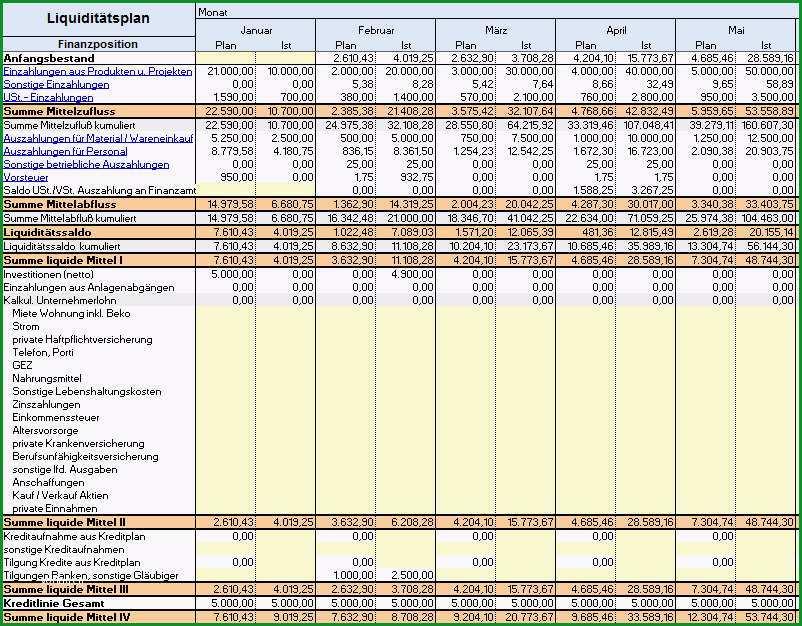 Liquiditaetsplan erstellen