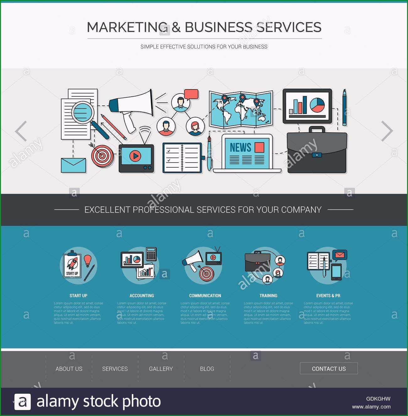 stockfoto marketing und kommunikation web vorlage werbung und verbesserung geschaftskonzept