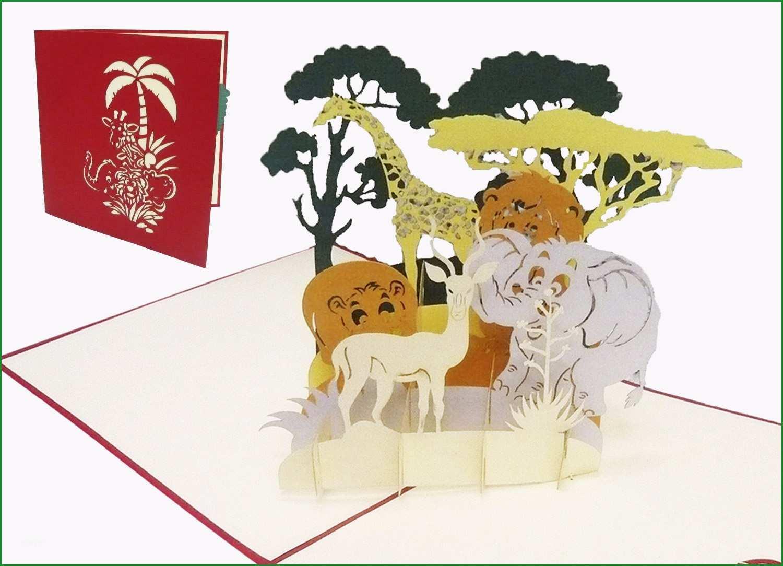 pop up karte geburtstag zoo gutschein safari