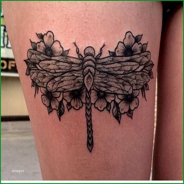 tattoo dotwork libelle auf dem oberschenkel