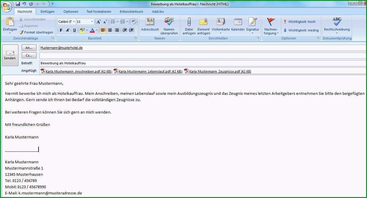 e mail bewerbung